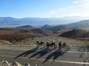 Aerial shot of bikes over desert